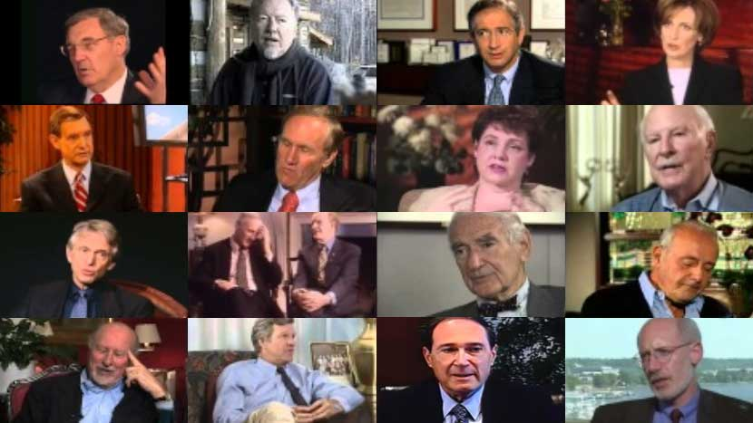 A collage of stills from video and oral interviews of renowned figures in the media industry